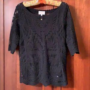 Black lace top with bateau neckline